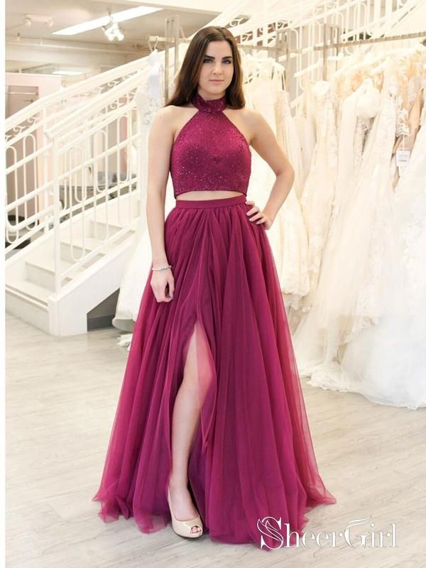 e4bfc38ef4 2 Piece Beaded Fuchsia Prom Dresses Long A Line Sexy Slit Tulle Prom Dress  APD3398-SheerGirl