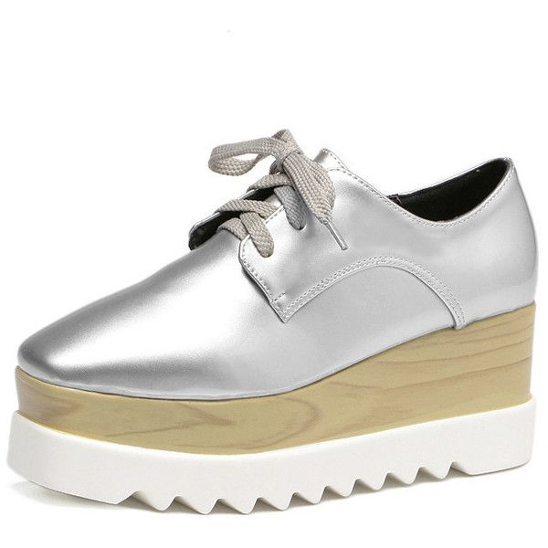 SheIn(sheinside) Silver Round Toe Lace-up Platform Sneakers ($36) ❤ liked on Polyvore featuring shoes, sneakers, silver shoes, platform wedge shoes, silver wedge shoes, silver sneakers and silver wedge sneakers