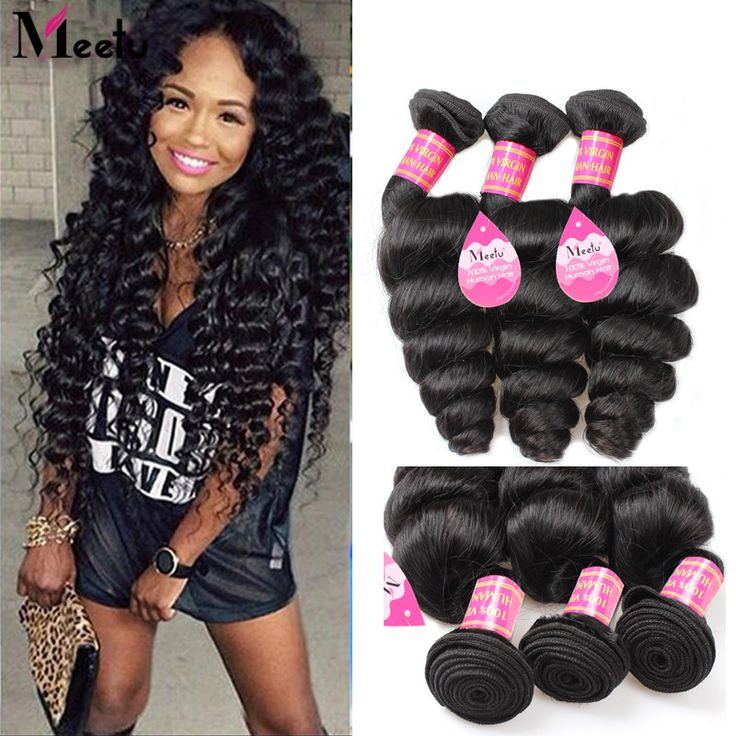 8A Grade Brazilian Loose Wave 4 Bundles Meetu Hair Products Unprocessed Virgin Human Wavy Brazilian Virgin Hair Loose Wave