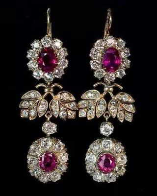 Pink amethyst and diamond gold earrings
