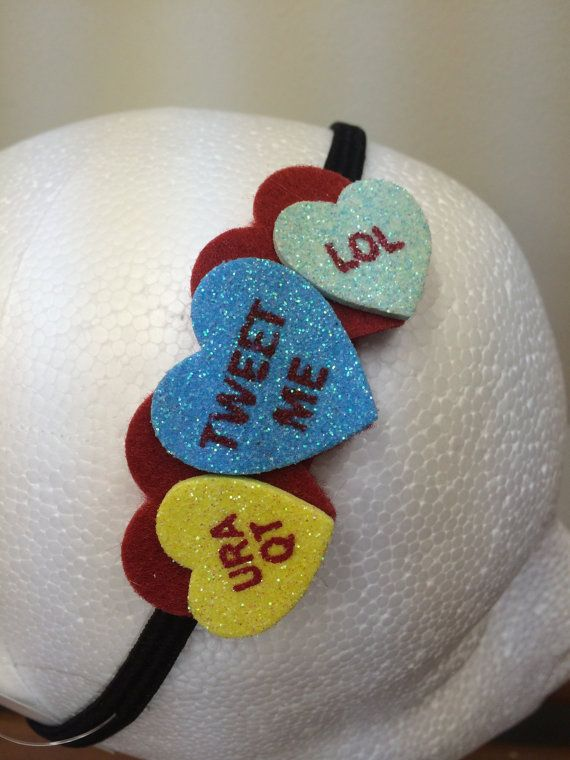 Sparkly Valentine's Conversation Heart Headband by LittleBugBling