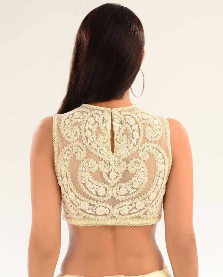Pearl embellishment on blouses. Read more http://fashionpro.me/10-different-types-embroidery-embellishments-blouses-35-pics