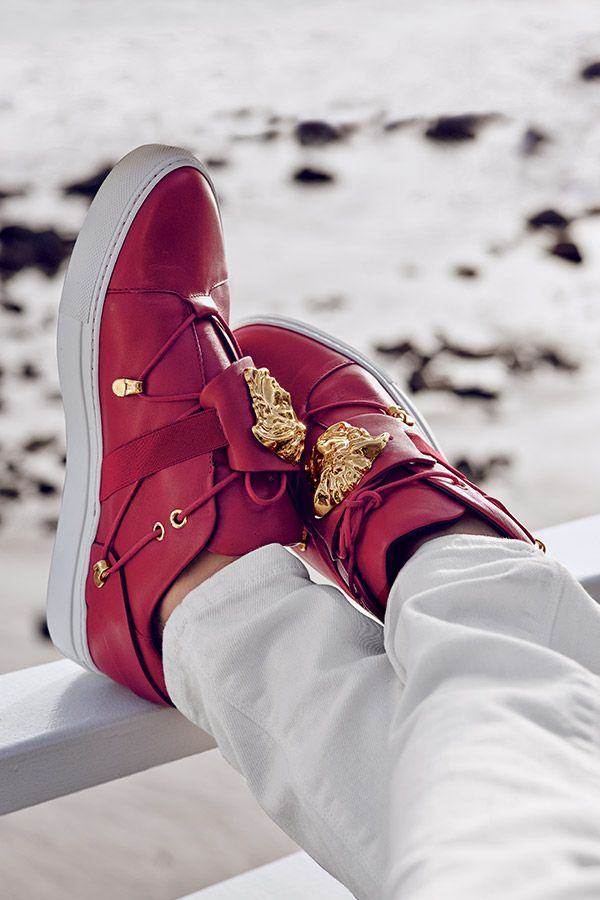 Add a pop of color with these #Versace sneakers this spring #SaksSneaks
