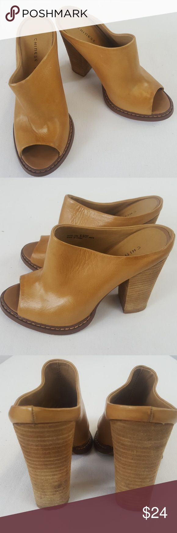 "Chinese Laundry brown wood open toe heels size 6.5 Chinese Laundry brown wood open toe heels.  Size 6.5 Heels 4"" Chinese Laundry Shoes Heels"
