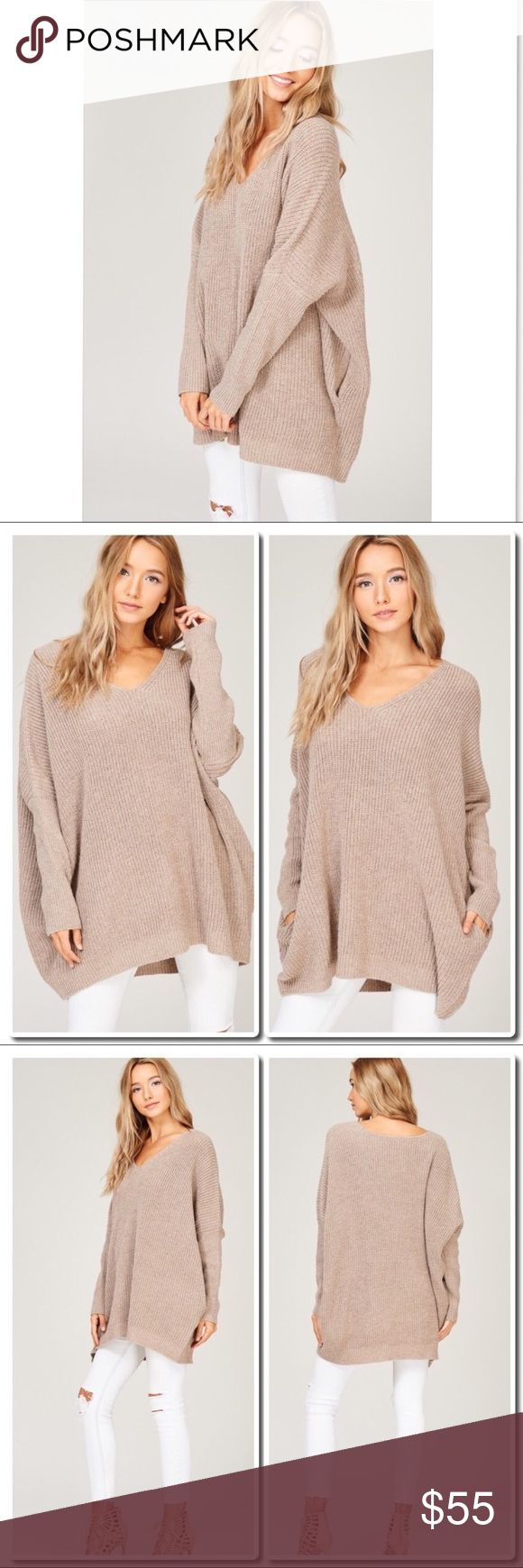 Knit Oversized Sweater/Dress in Mocha PRICE IS FIRM -                     Description: - Oversized Knit crochet sweater dress - Raglan style puffy sleeves - Pockets at either side seam - Loose fit - V-neck - Model is 5 feet 9 inch 32B-23.5-34 and wearing a size Small  Category: Sweaters Sweaters V-Necks