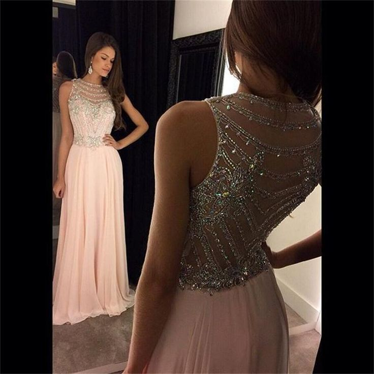 Pink Beading Long Prom Dresses 2017 New Design Long Evening Dress sleeveless sheer Formal Gown vestido de festa vestido longo