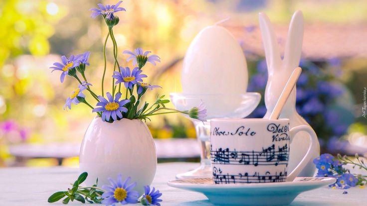 Wielkanoc, Kompozycja, Kwiatki, Wazonik, Filiżanka, Porcelanowy, Króliczek, Świeczka- Piękne tapety na Twój pulpit.
