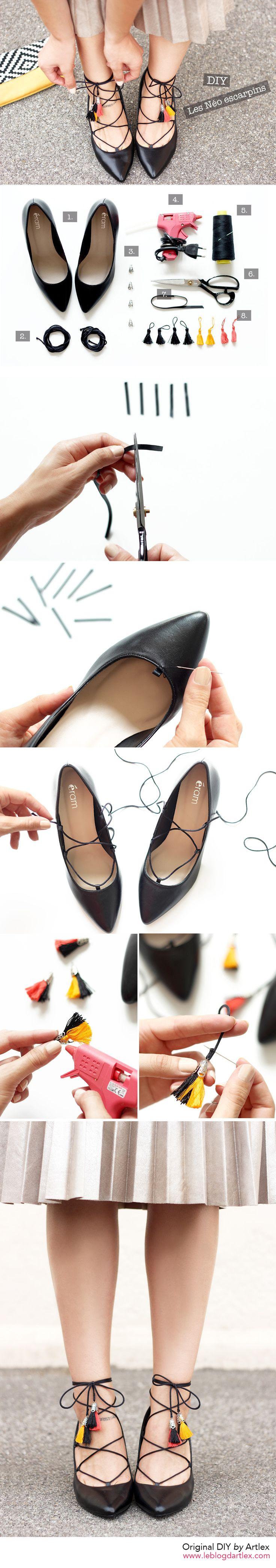 Laced shoes DIY // Blog DIY Artlex http://www.leblogdartlex.com/diy-chaussures-lacees-pompons/