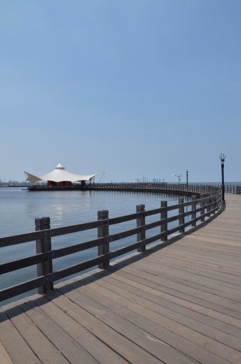Ancol Beach, Jakarta Indonesia. Boardwalk to cafe