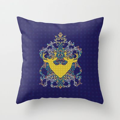 Leafy and Jykell : Dark Twins Throw Pillow by Geetika Gulia - $20.00