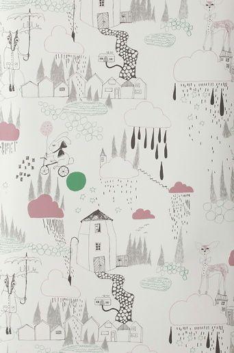 Ferm Living Offwhite/grön/rosa FermLiving tapet