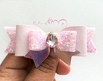 Rose Gold pink Glitter Hair Bow Girls Sparkling by MeghanandJulie