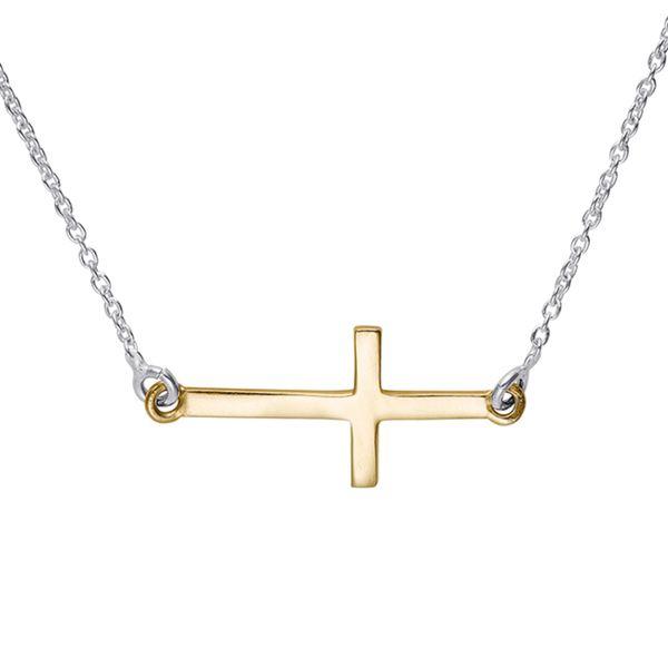 Sterling Silver Two-tone Mini Sideways Cross Pendant