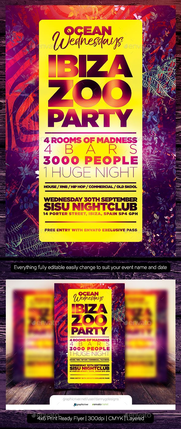 ibiza zoo party flyer template clubs parties events party