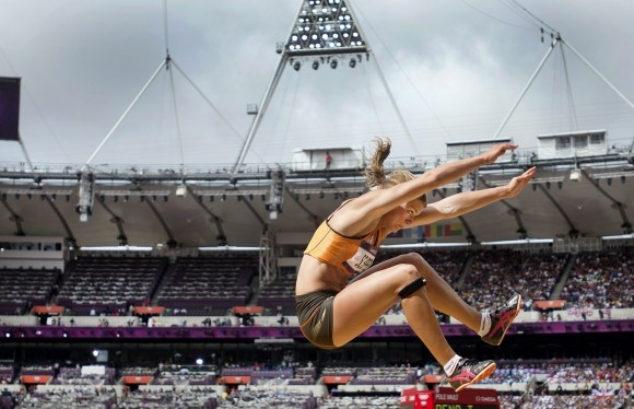 Women's Heptathlon  Dafne Schippers of the Netherlands competes in the Long Jump of the Heptathlon event during the London 2012 Olympic Games Athletics, Track and Field events at the Olympic Stadium, London, on Aug. 4, 2012