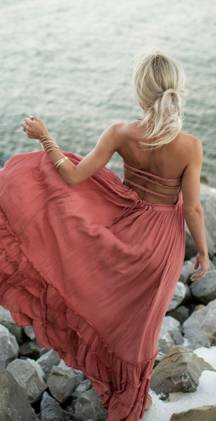 Flowy rose maxi dress