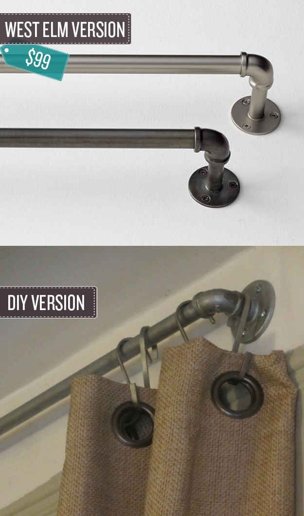 Build some industrial pipe curtain rods. | 24 West Elm Hacks
