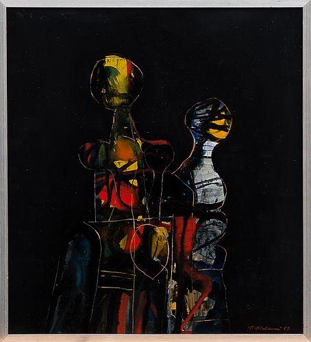 Pentti Melanen: Sisarukset, 1969, öljy kovalevylle, 61x55 cm - Bukowskis 3/2016