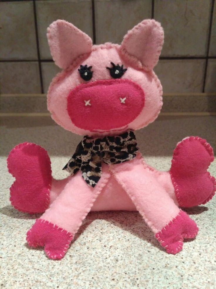 Felt pig, soft toys, stuffed animals