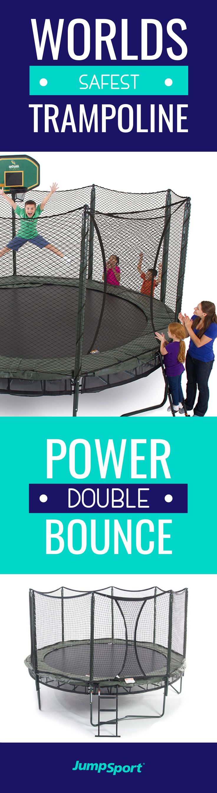 Get fit and have fun with a backyard trampoline! JumpSport® http://www.jumpsport.com/AlleyOOP-Sports-Trampolines offers the best in design, materials, and bounce while offering the highest quality and safest trampoline enclosure available today.  This outdoor activity is fun for the whole family and will keep your family fit for years to come!