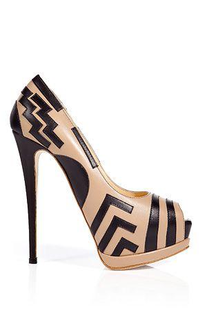 Giuseppe Zanotti Nude & Black geometric line Platform Peep-toe Stiletto Pumps Fall Winter 2011 $995 #Shoes #Heels