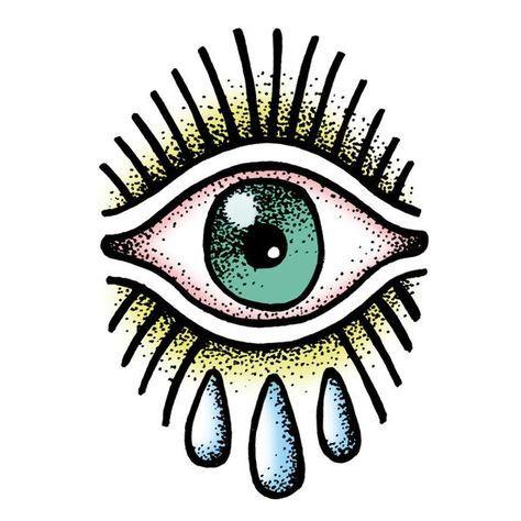 Temporary Tattoo OJITO - Tattoonie / Premium Temporary Tattoos printed with vegetable-based inks. ( eye, old school, tears )