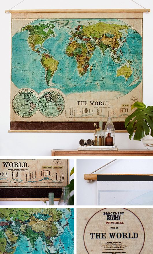 vintage world map - I love maps on the wall, unframed.  Hang a smaller frame in front to highlight a piece of geography.  Paper a whole wall in them.