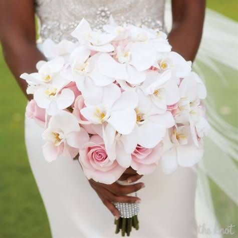 Blush Rose and White Orchid Bridal Bouquet.... i would like to add some coral to it!