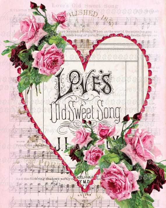 .olde love sond on sheet music with heart around ir and printed flowers.   neat.