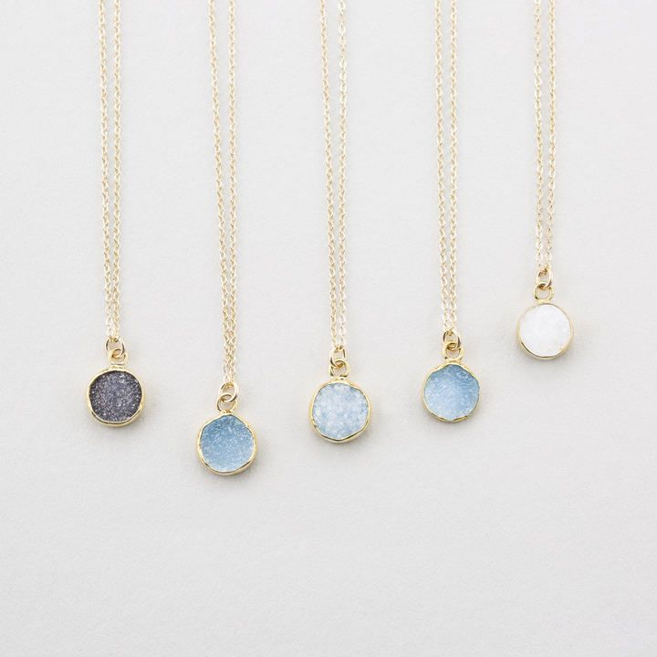 Etsy Tiny Round Druzy Pendant Necklace / Gold Edged Stone on 14k Gold fill Chain / Druzy Tiny Crystals Gemstone Necklace. $29