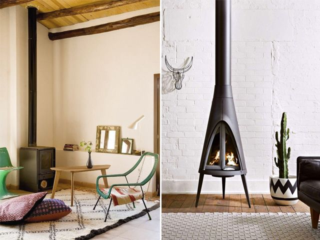 Whether it be a wood burning cast iron stove or a midcentury conical fireplace, there is something so wonderfully charming about free standing fireplaces. I love the exposed pipes and flexibility when it comes to shape and size. Heartwarming . . .