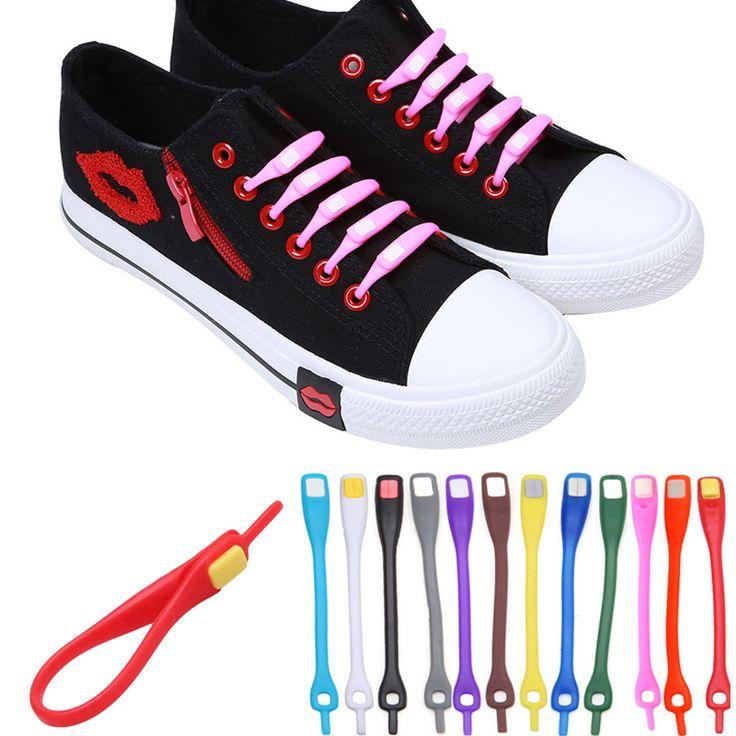 10 pcs/lot Novelty Tanpa Dasi Tali Sepatu Unisex Elastis Silikon Tali Sepatu Untuk Pria Wanita Semua Sneakers Fit Tali 12 warna