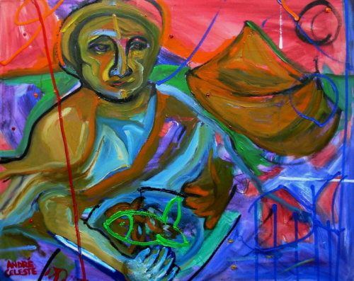 Paintings - MARIA WITH FISH - AN ORIGINAL OIL PAINTING BY ANDRE LOCH FOURIE AND CELESTE FOURIE-WIID for sale in Hermanus (ID:257977463)