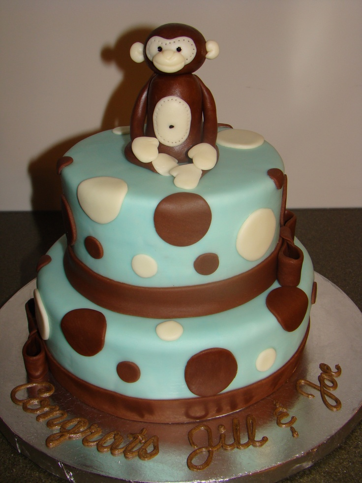 Boy monkey baby shower cake in sage green instead of blue for some more monkey boy baby shower - Monkey baby shower cakes for boys ...
