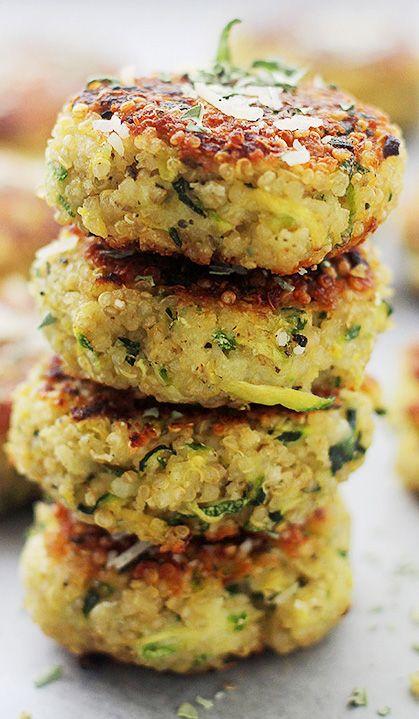 Garlicky & Cheesy Quinoa Zucchini Fritters