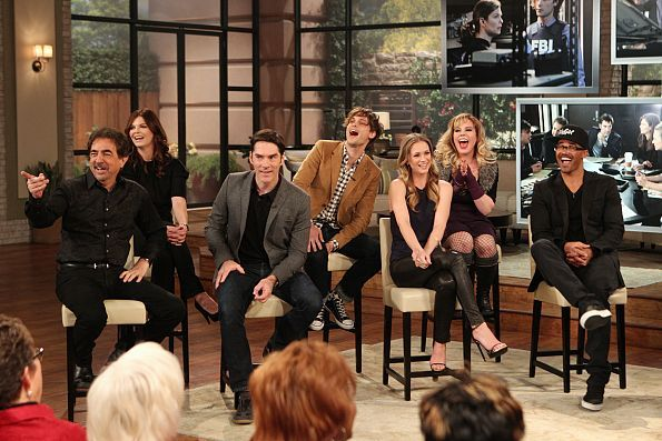 "The cast of CBS's ""Criminal Minds"" celebrate their 200th episode on THE TALK, Wednesday, February 5, 2014 on the CBS Television Network. From left, Joe Mantegna, Jeanne Tripplehorn, Thomas Gibson, Matthew Gray Gubler, A.J. Cook, Kristen Vangsness, and Shemar Moore. Photo: Monty Brinton/CBS ©2014 CBS Broadcasting, Inc. All Rights Reserved.Watch the <a href=""http://www.cbs.com/shows/the_talk/video/B79B342C-E92A-2F50-D28F-03C5FC26FC09/the-talk-2-5-2014/"">full episode here</a> for all the inside…"