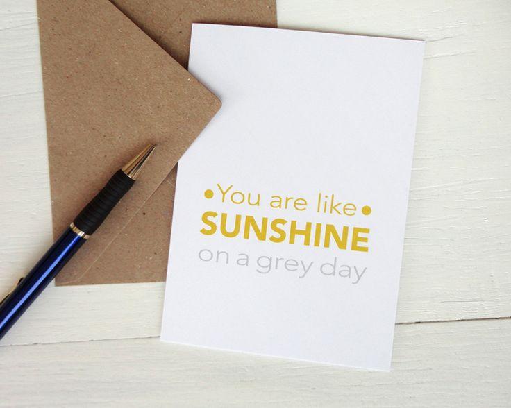 Grußkarte You are like sunshine gelb grau von AvenirCards auf DaWanda.com