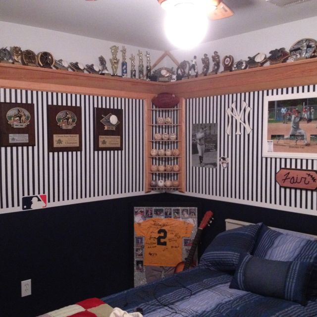 Like the shelves at the top for trophies and awards.  THis could work with our tall ceilings.  Need for both boys and girls' rooms.