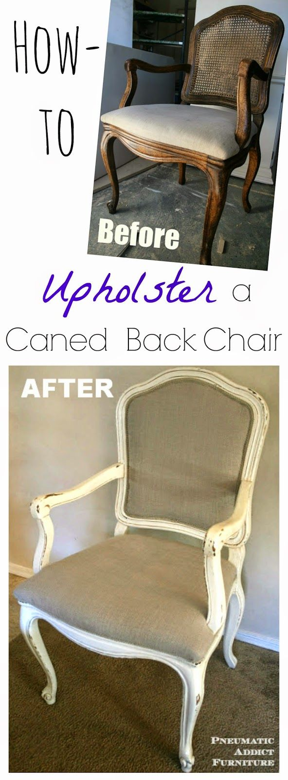 How to Upholster a Caned Back Chair- www.pneumaticaddict.com