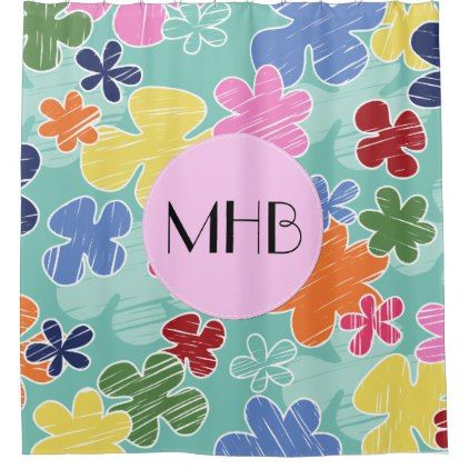 Monogram - Tropical Flowers - Pink Green Yellow Shower Curtain - shower curtains home decor custom idea personalize bathroom