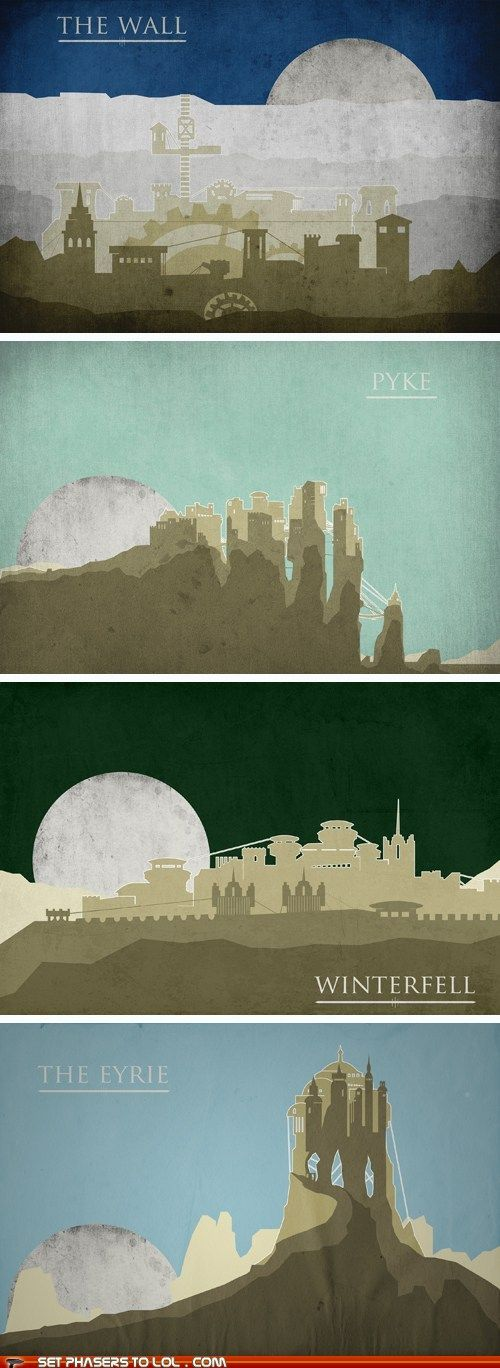 A Song of Ice and Fire travel posters.