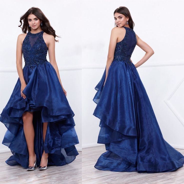 Pre- Order High-Low Prom Dress featuring beaded bodice in the front and back.. Zipper back with pleated elegant with moderate sweeping train.. Perfect for wedding guest, Prom, formal event. Ship Date
