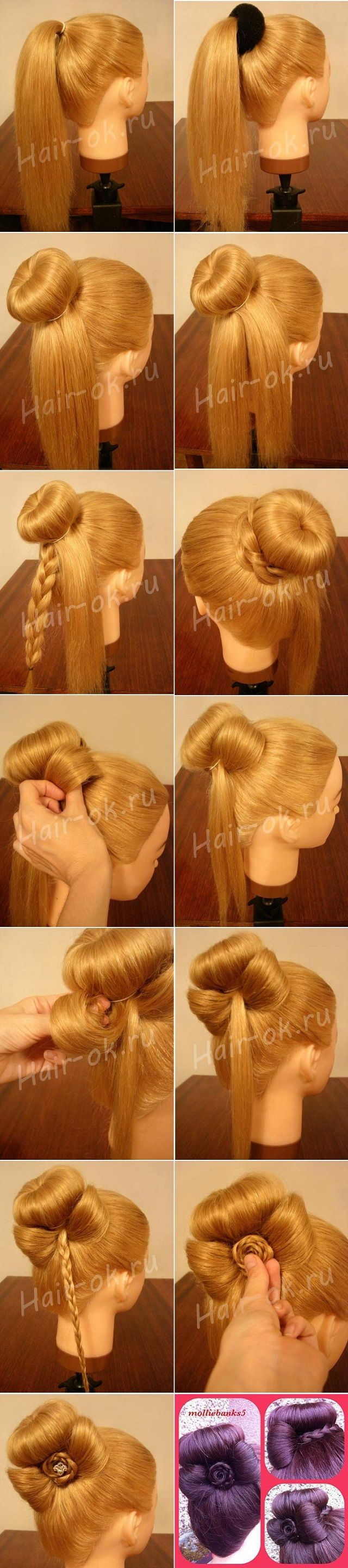 Pic tutorial for the sock bun with a hair bow and braid rose