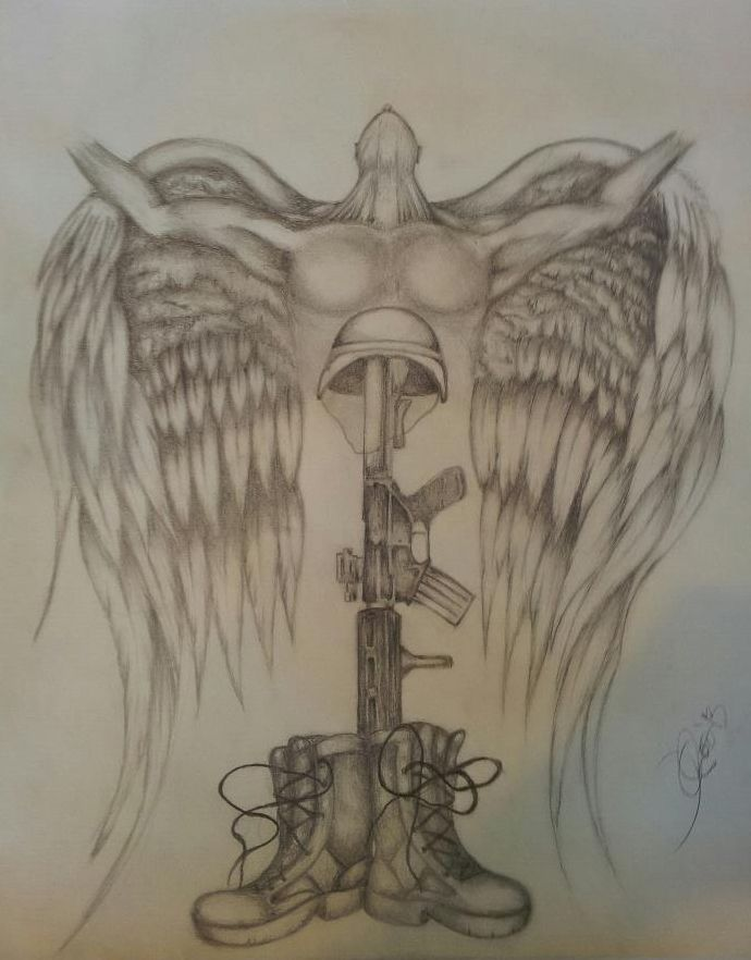 Soldiers Cross Design Soldier S Cross And Angel By Military Artwork Cross Designs Inspirational Tattoos