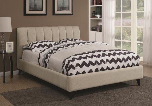 Portola Oatmeal Chenille California King Size Platform Bed 300754KW