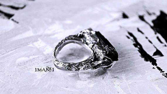 Black Tourmaline Ring Fine Silver Ring Tree Ring Trunk