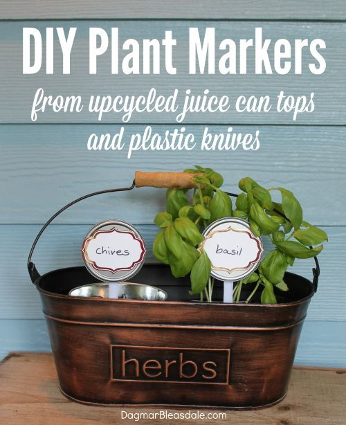 DIY plant marker idea from upcycled juice can tops and  plastic knives. Dagmar's Home, DagmarBleasdale.com #DIY #plantmarkers #plant #markers #crafts #gardening #upcycling #recycling