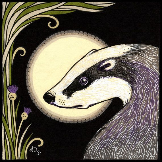Professional Archival Quality Reproduction of my original artwork Moon Badger Giclee printed on flat canvas board Bespoke framed in natural wood,