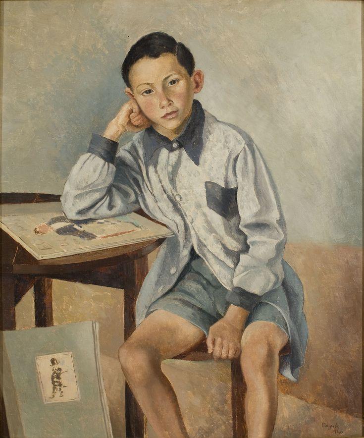 Boy in Blue Smock, 1940 by Xavier Nogués (Barcelona, 1873-1941) | Museu Nacional d'Art de Catalunya