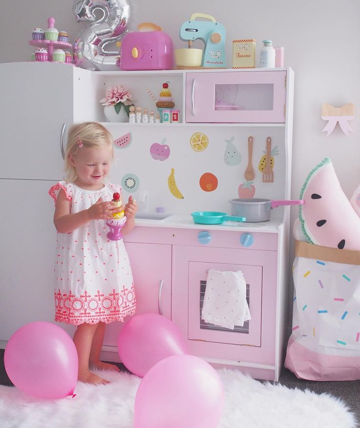 Who loves Kmart or IKEA hacks? When my little girl turned 2 we spent hours upon hours redoing this Kmart kitchen for her birthday and it turned out just how I imagined it! The sprinkle storage bag by @prettytidy_roshnee the bow hook by @kids.kulture and of course the watermelon cushion by us @booandbearbaby all help to make this the dreamiest room in the house  Shop our cushions via the link in our bio  #watermeloncushion #kmarthack #ikeahack #kidskitchen #kitchenhack #girlsroom